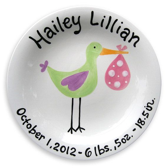 Personalized baby stork birth announcement by littlewormandcompany this just arrived girl stork kids plate is darling makes great baby gift to mark the special birth shop myretrobaby for personalized baby girl gifts now negle Image collections