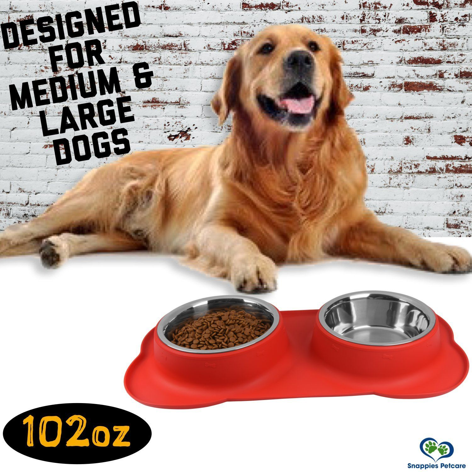 Large Dog Bowl 2 Large Capacity 54oz 108oz Total Removable Stainless Steel Bowls Set In A Stylish No Mess Detail In 2020 Large Dog Bowls Dog Bowls Dog Bowl Mat