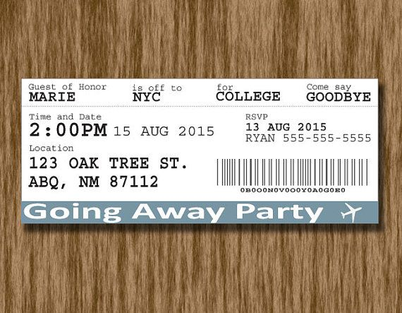 Plane Ticket Going Away PartyCollege Send Off Invitation