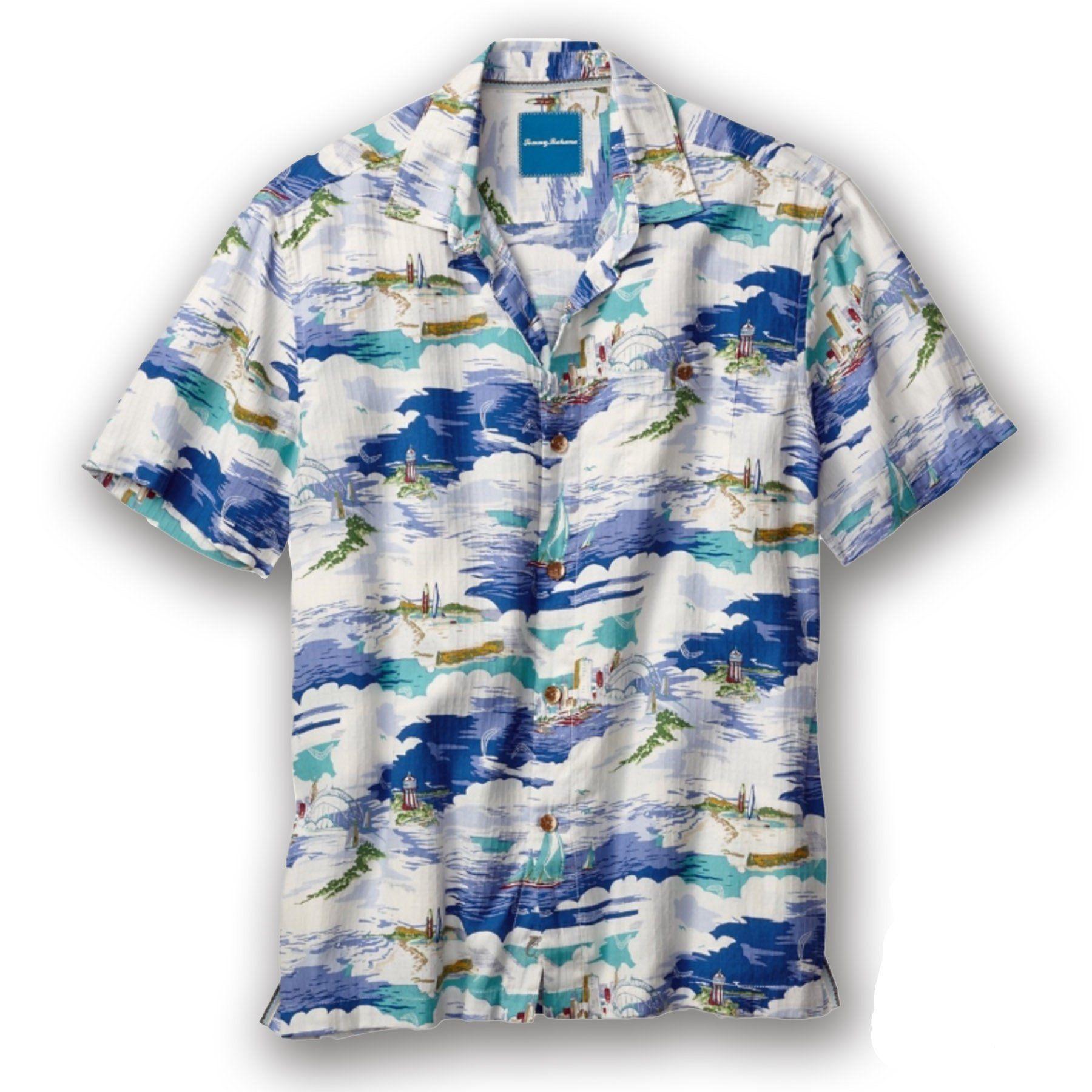 Men's Tommy Bahama | Sydney Skyline Camp Shirt | S/S | Bright Cobalt