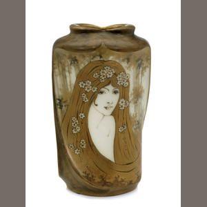 An Amphora glazed porcelain Portrait vase: decorated by Halmar produced by Reissner Stellmacher & Kessel, 1892-1905