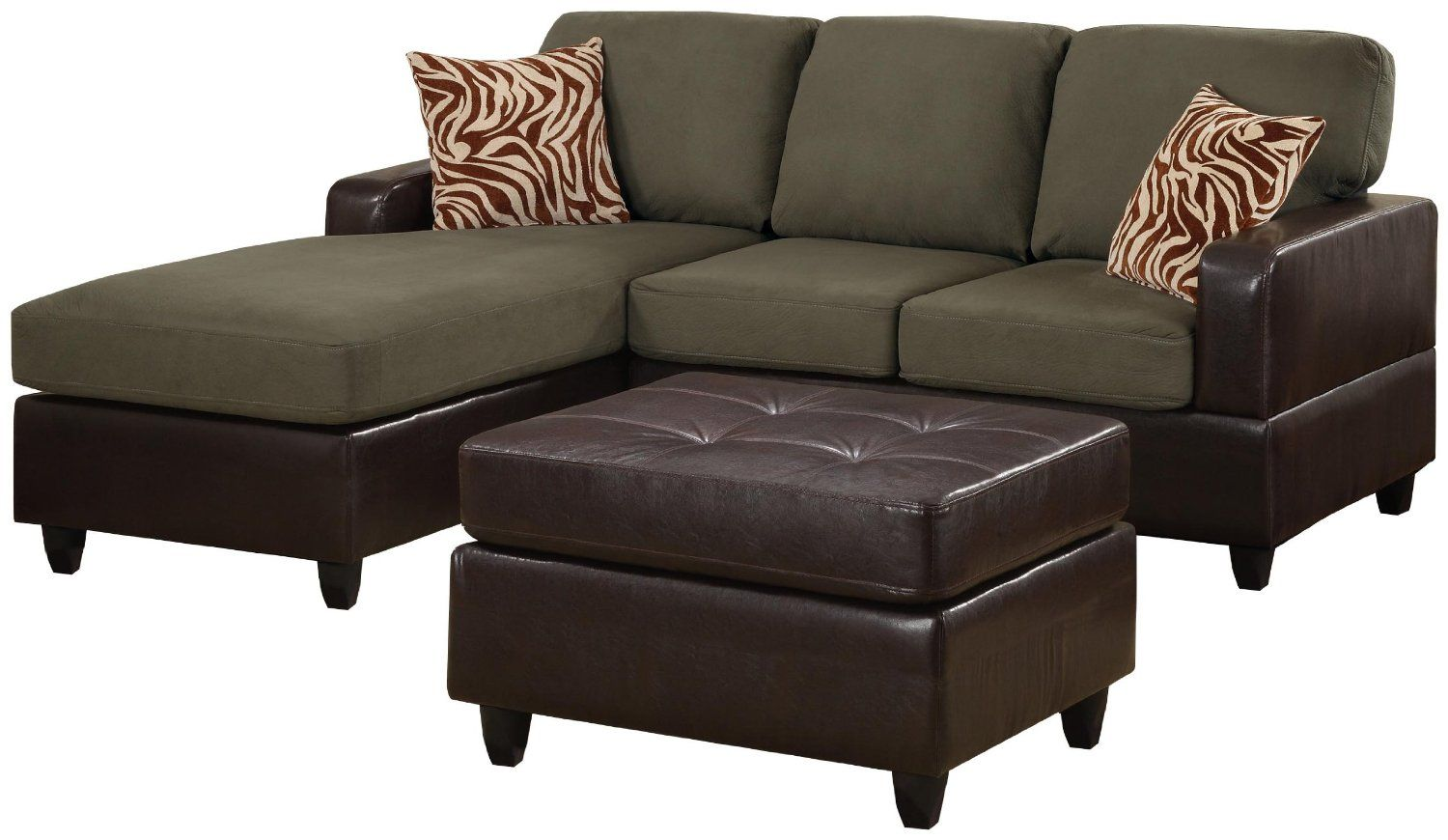 Amazon.com - Bobkona Manhattan Reversible Microfiber 3-Piece Sectional Sofa with Faux Leather Ottoman in Sage Color