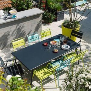 Table De Jardin Fermob Monceau Acier L194 L94 Cm Carbone Salon De Jardin Metal Salon De Jardin Fermob Table De Jardin