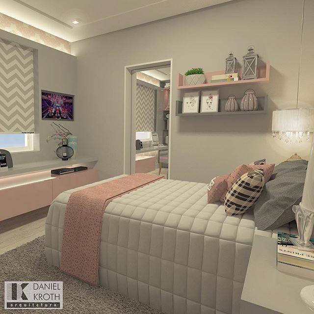Quarto de menina em tons de rosa e cinza for Quadros dormitorio