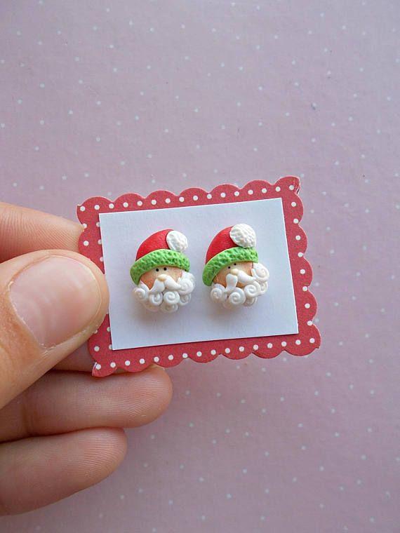 Polymer Clay Christmas Earrings.Santa Earrings Christmas Earrings Stud Earrings Santa