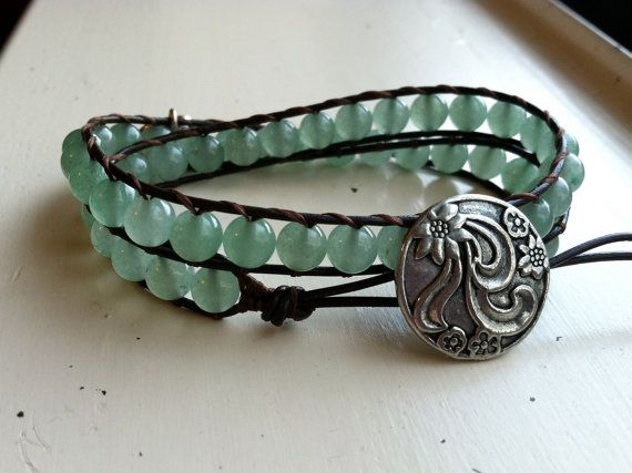 Mint green aventurine wrap with Sterling Silver elephant charm! On Etsy