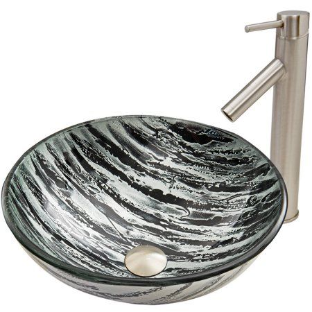 Vigo Rising Moon Glass Vessel Sink And Dior Faucet Set, Brushed Nickel,  Silver