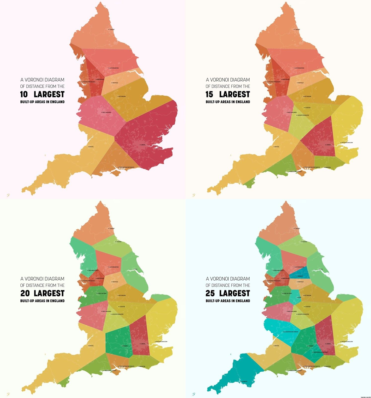 A Voronoi Diagram Of England Showing Distance From The Largest Built Up Areas