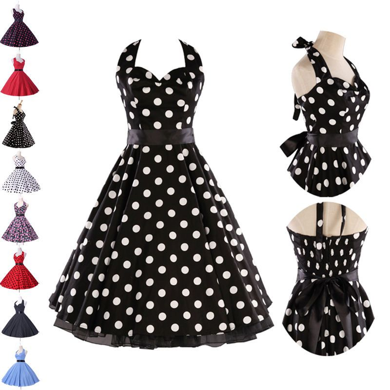 Vintage Retro Halter Polka dot Swing 50s 60s pinup Rockabilly Dress ...