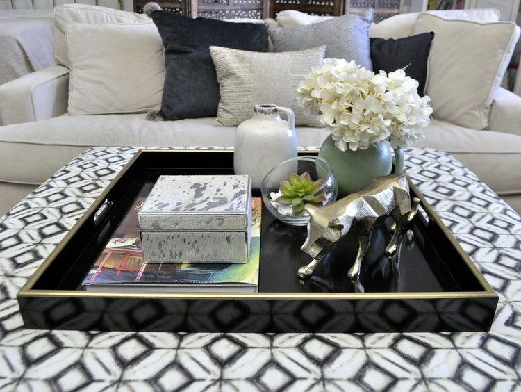 Black Gold Square Ottoman Tray In 2020 Ottoman Coffee Table Decor Square Coffee Table Decor Ottoman Decor #ottoman #coffee #table #living #room
