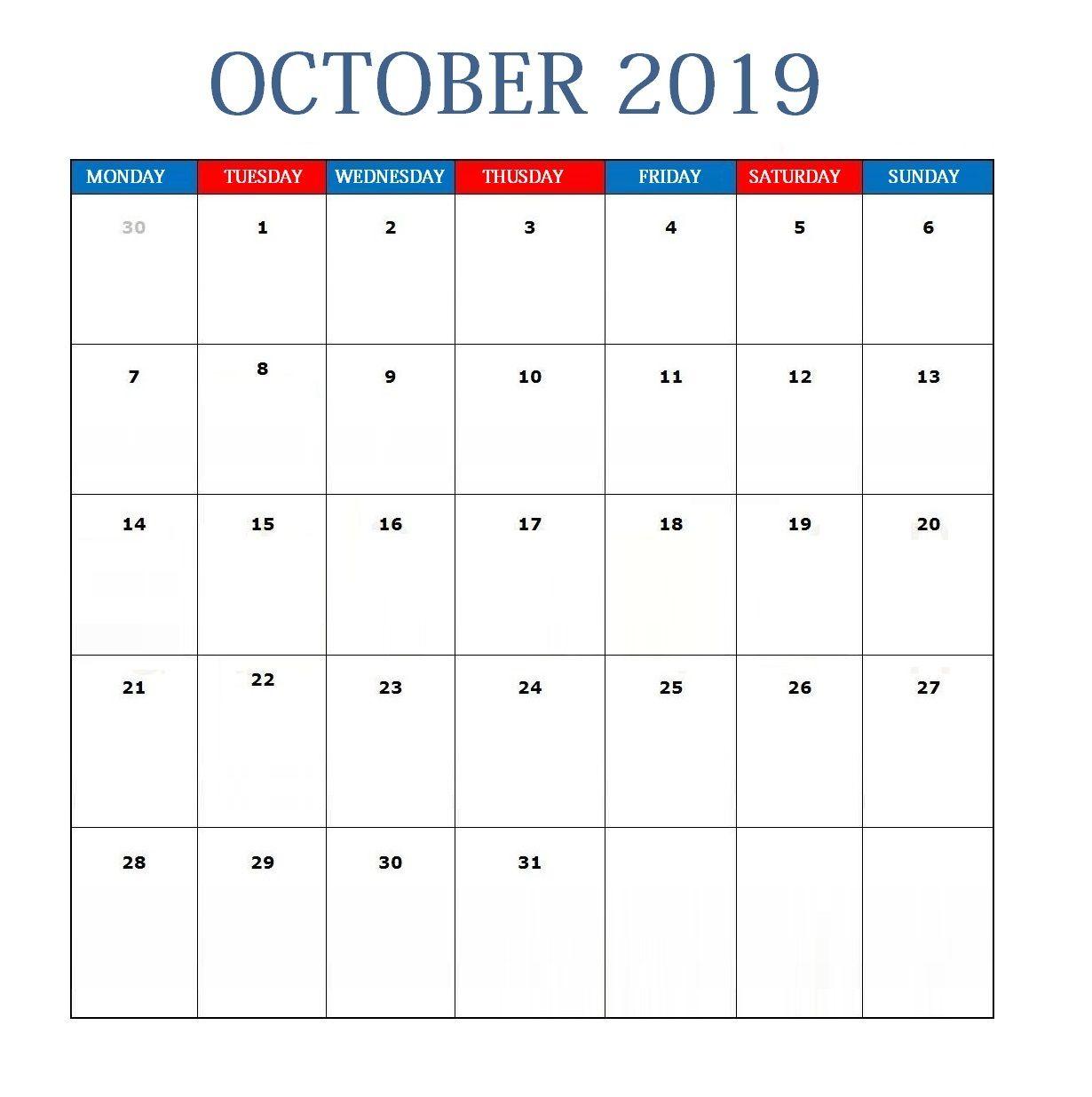 Blank October 2019 Calendar Template October 2019 Calendar