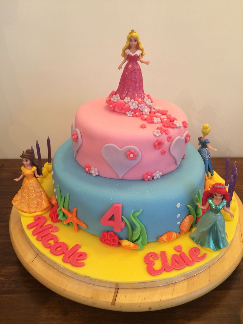 Disney Princess Cake Birthday Cake For Two 4 Year Old Girls Two