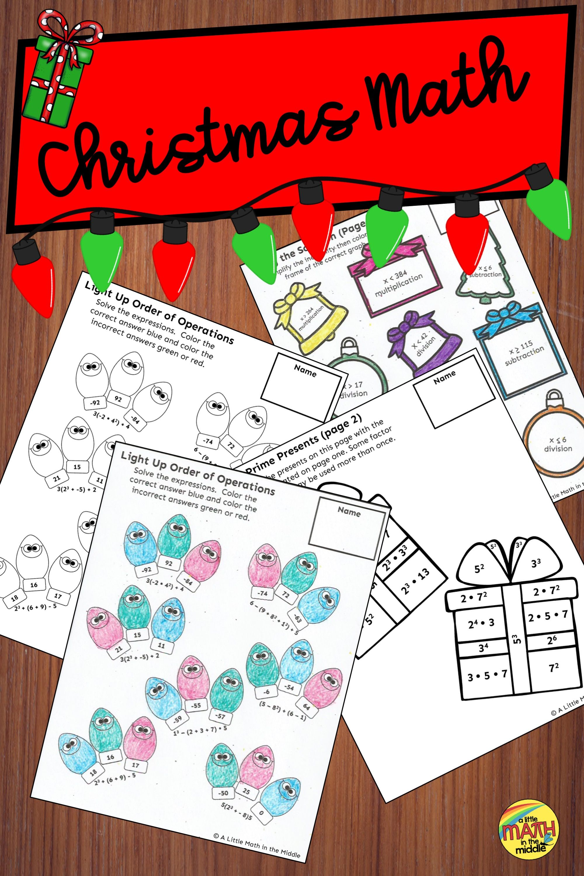 Christmas Math Review Activities Teks 6 7a 6 7b 6 10a