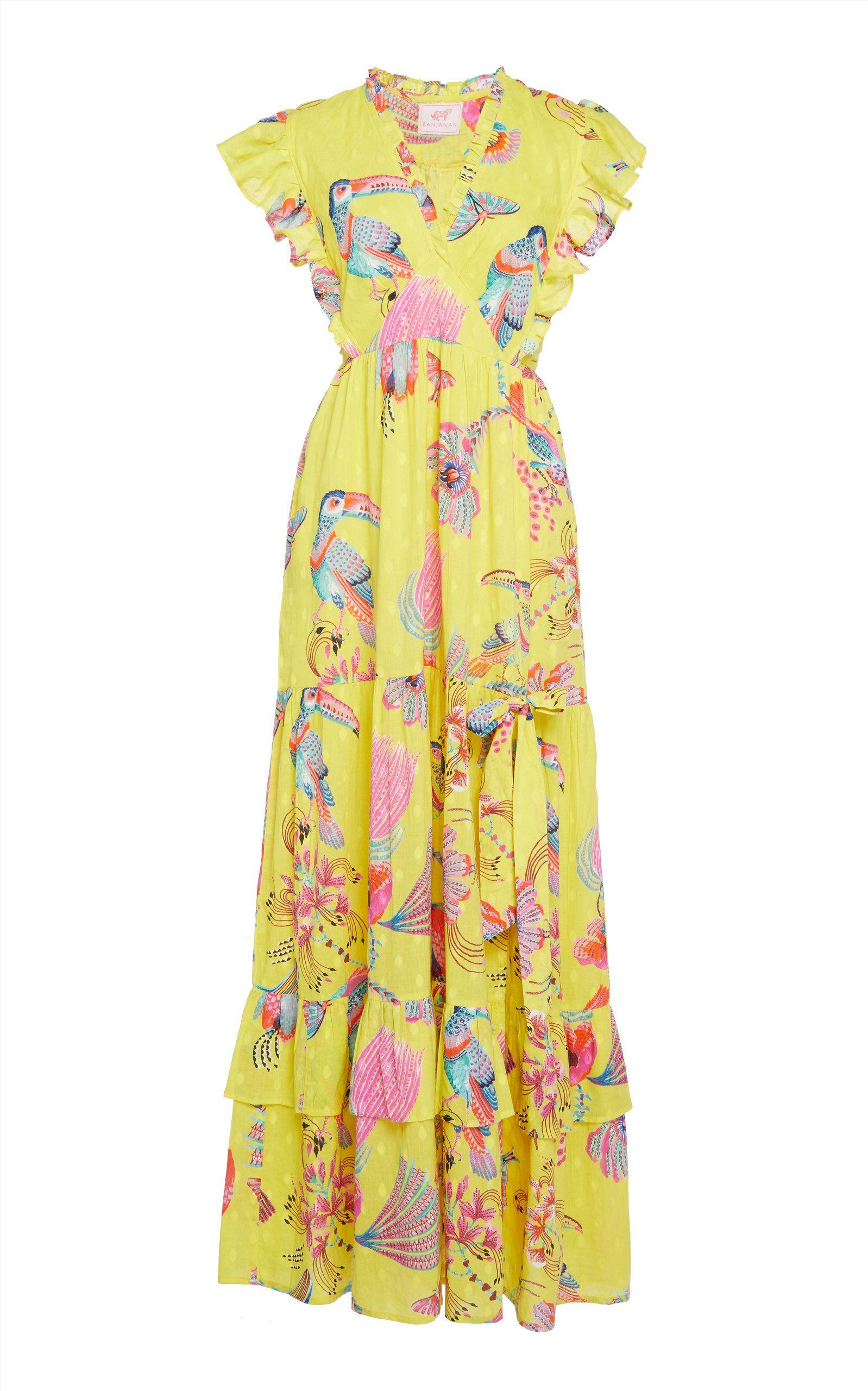 summer dress dress FLAMINGO application DRESS cotton dress yellow dress