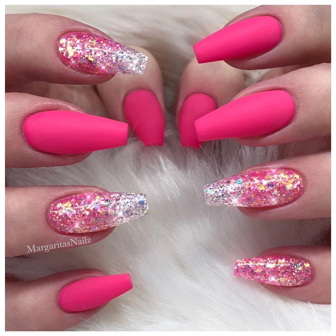 Pink Matte Coffin Nails Glitter Ombré Nail Art Design Spring Summer Fashion Designs Custlittermix