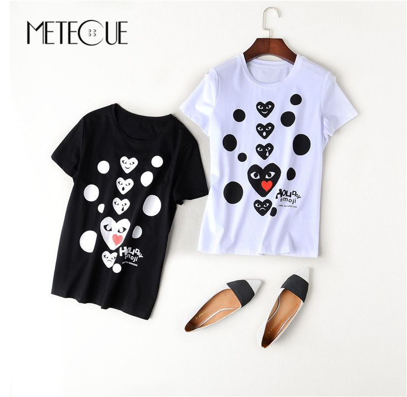 Loving Heart Print 100% Cotton Womens Tops 2017 Summer Short Sleeve Tee Shirt New 100% Cotton Tee Femme 2016