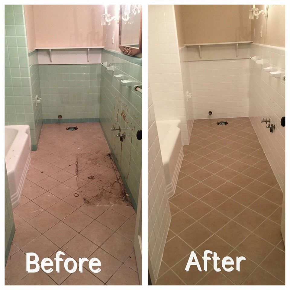 At This House We Reglazed The Bathrooms Wall Tile And Bathtub White We Also Color Sealed The Floor Tile Tile Remodel Bathroom Remodel Tile Tile Floor