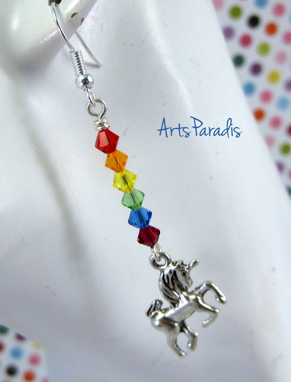 1f984f3b1b25 Adorable  rainbow  Swarovski  crystal  unicorn  earrings available from   AmazonPrime.  handmade  fashion  jewelry  Etsy  Amazon
