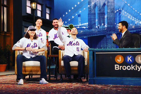 #DavidWright, @MattHarvey33, @JdeGrom19 and Wilmer Flores on @JimmyKimmelLive tonight! #Mets #LGM