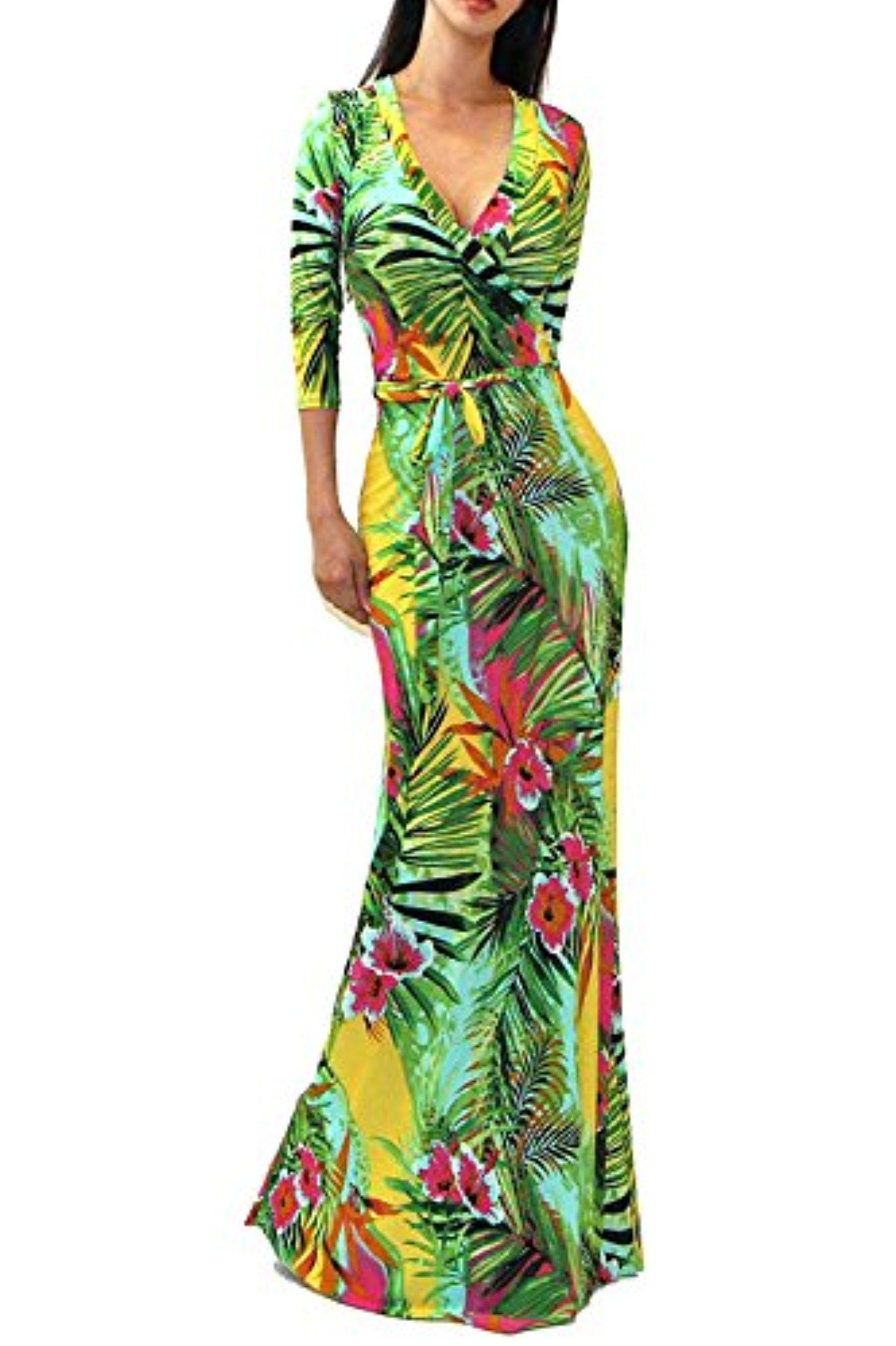 Vivicastle Women S Printed V Neck 3 4 Sleeve Wrap Waist Tie Long Maxi Dress Large H11 Green Awesome Products Selected Maxi Dress Dresses Long Maxi Dress [ 2252 x 1500 Pixel ]