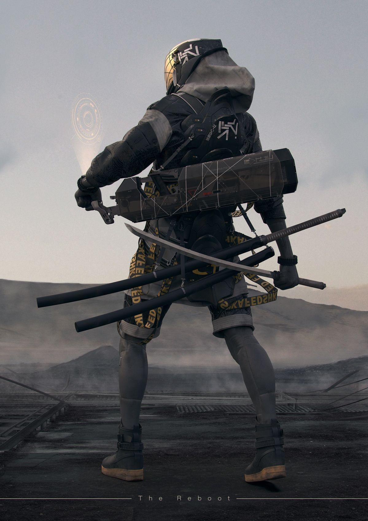 Future Tech Samurai Cyberpunk character, Cyberpunk art