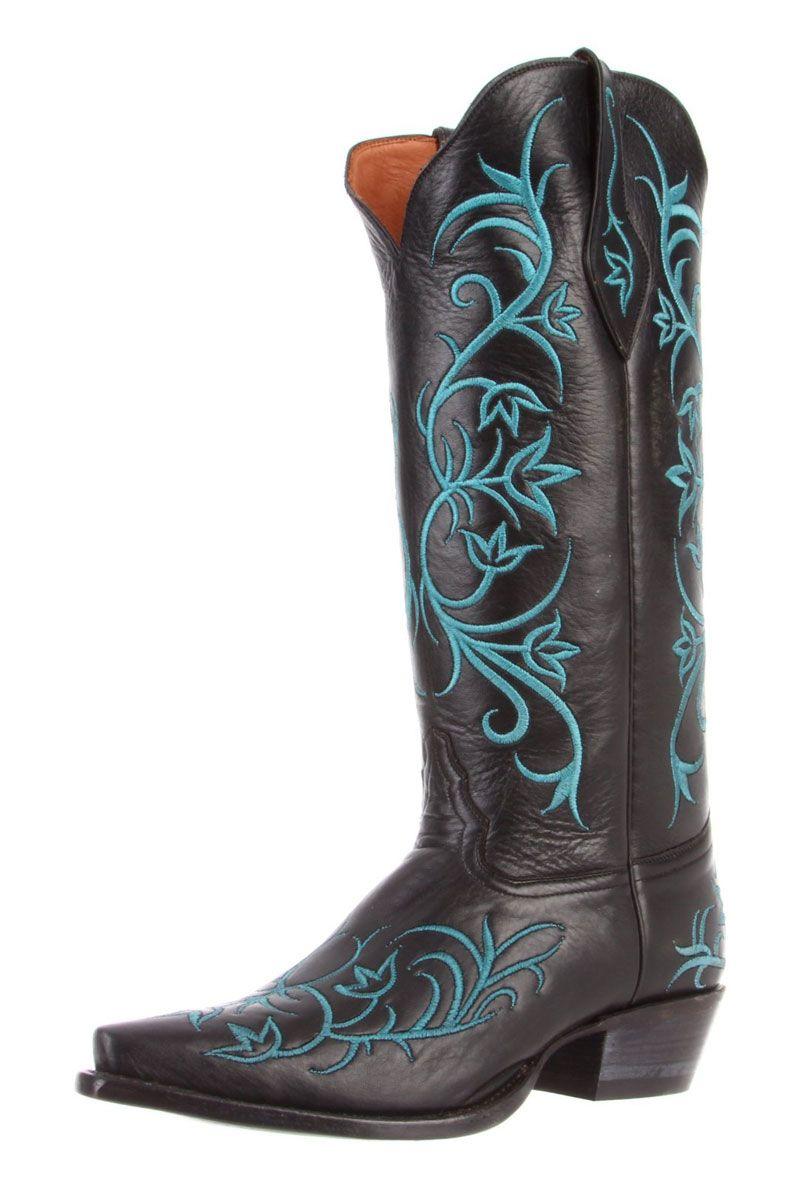 Tony Lama Black Signature Calf Cowgirl Boots - Free -3863