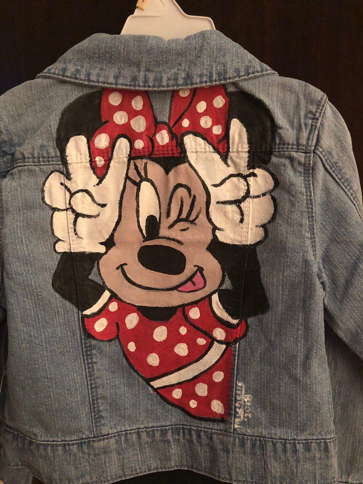 Minnie Mouse Denim Jacket Girls Size 7 S Etsy Painted Clothes Diy Hand Painted Denim Jacket Painted Jacket [ 1656 x 1242 Pixel ]