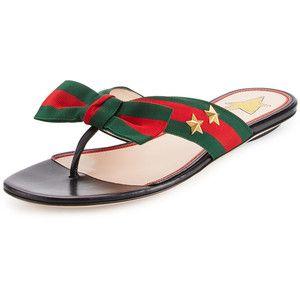 098b5a20072b Gucci Studded Grosgrain Web Flat Thong Sandal