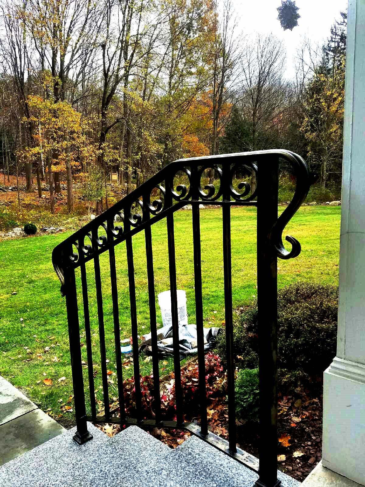 3 Rail Wrought Iron Railing With Decorative Fishtail Rings With
