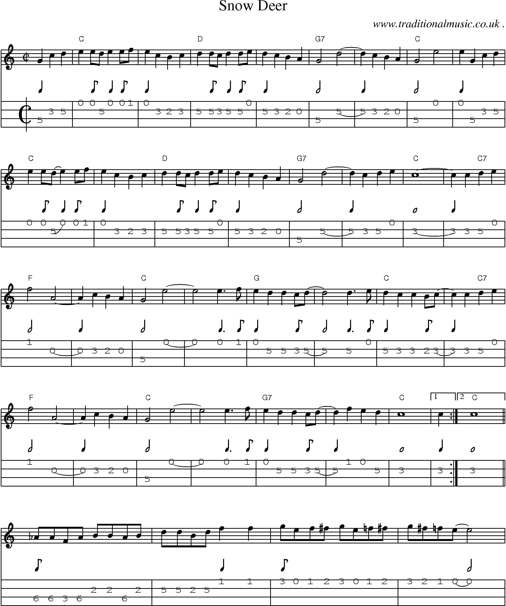 Music score and mandolin tabs for snow deer sheet music guitars hexwebz Gallery