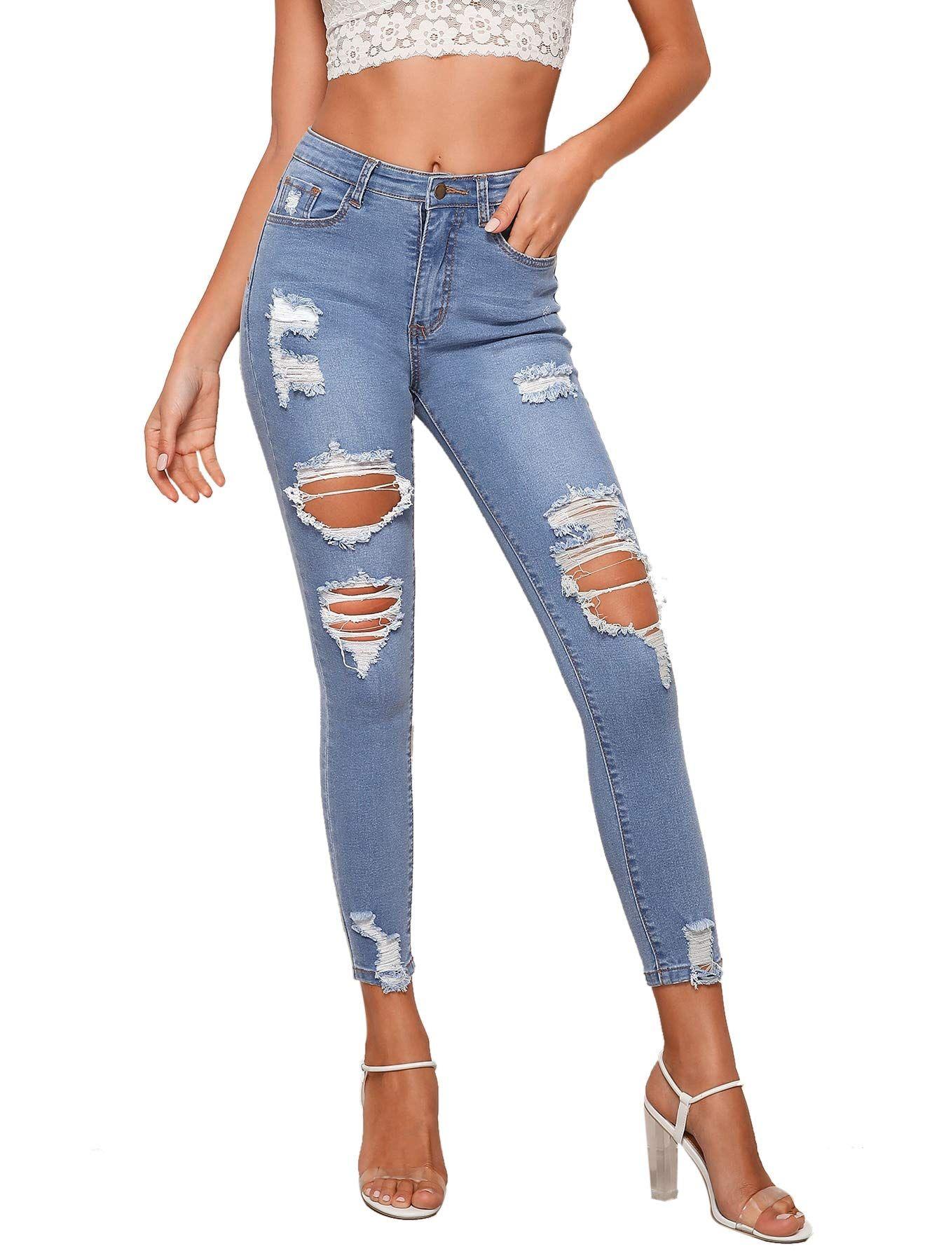 Milumia Womens Casual Mid Waist Skinny Ripped Jeans Denim Pants
