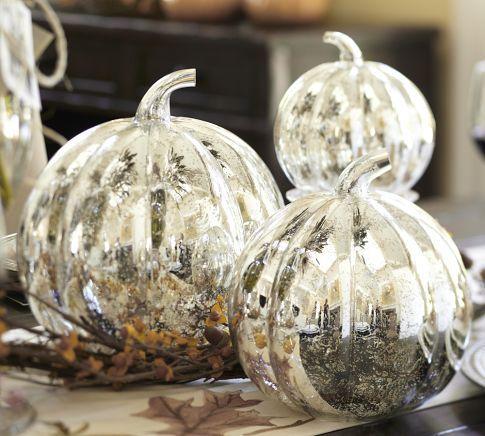 Antique Mercury Glass Pumpkins Glass Pumpkins Modern Holiday