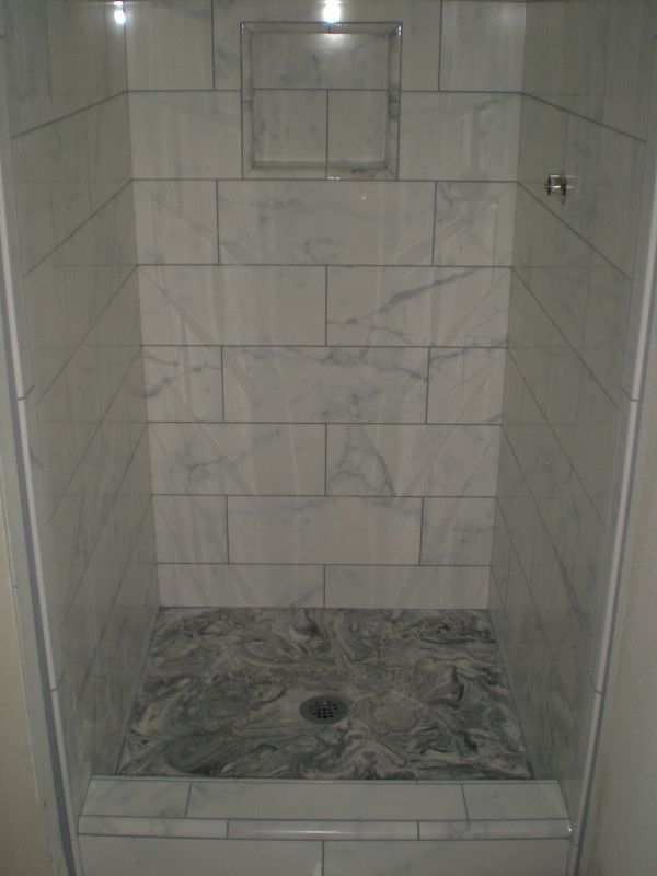 Faux marble custom tile bathroom floor and shower for Bathroom porcelain tile designs