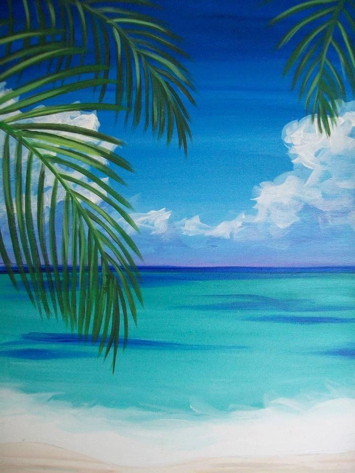 Palm Tree Peek At The Beach Easy Beginner Painting Idea