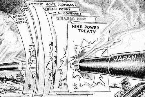 Caricatura: la invasión japonesa de Manchuria rompe todos los tratados anteriores