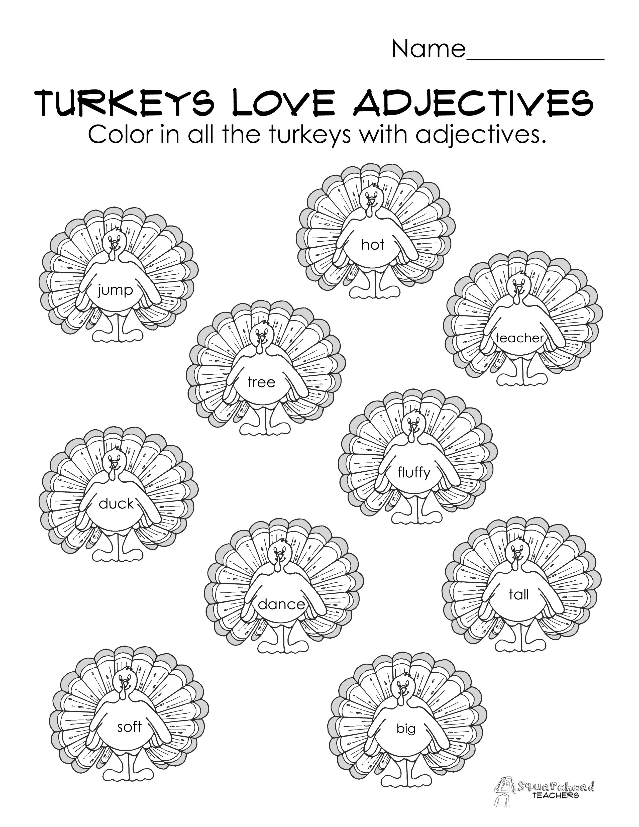 Turkeys Love Adjectives (free parts of speech worksheet! [ 3300 x 2550 Pixel ]