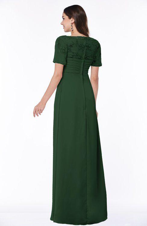 cf4767e31ea9 Traditional Short Sleeve Zip up Chiffon Floor Length Flower Bridesmaid  Dresses