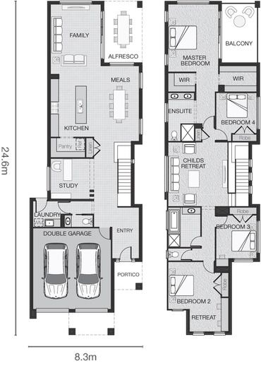 The Hayes Standard Design Adenbrook Homes Narrow House Plans Family House Plans Narrow Lot House Plans