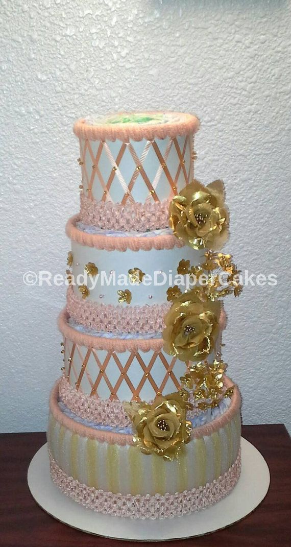 Tray Decoration For Baby Girl Custom Peach And Gold Diaper Cakes  Baby Girl Shower Centerpiece Decor Design Decoration