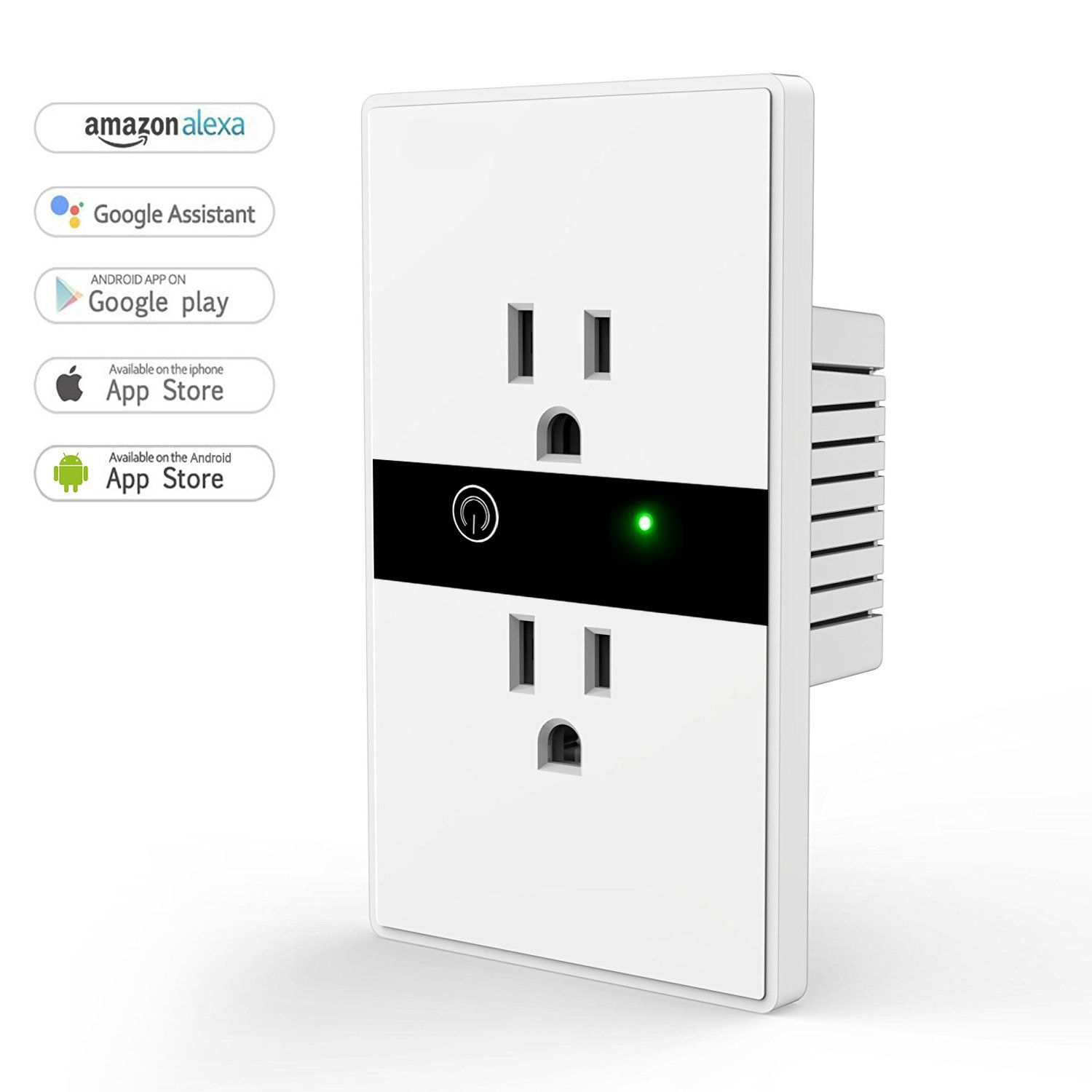 Smart Wall Outlet, Wi-Fi In-Wall Socket with Timing Function, No Hub ...