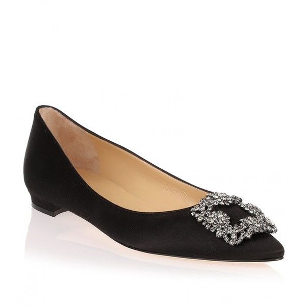 41366a57b7f4 ... spain manolo blahnik flat hangisi satin black 785 liked on polyvore  featuring shoes flats black black
