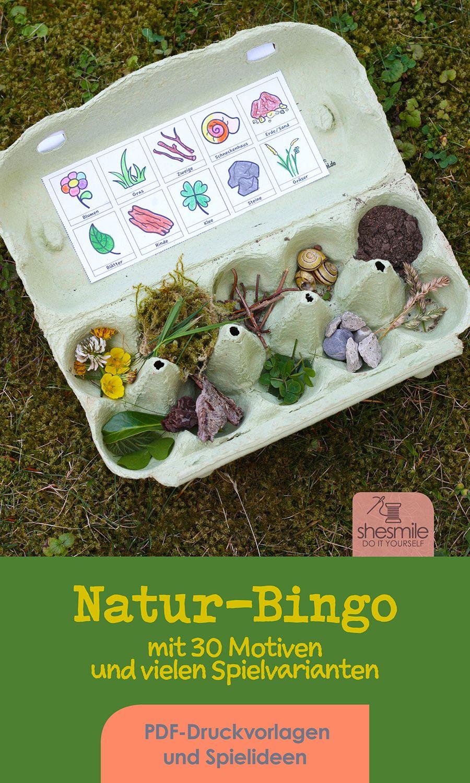 Natur-Bingo für Kinder (Druckvorlagen und Spielideen) #bastelideenkinder