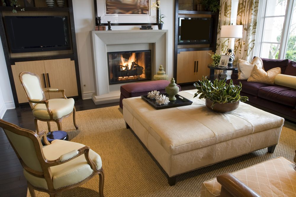 Tightly Matched Living Room Features Beige, Brown, And Purple Accents  Throughout, With Smaller Part 97