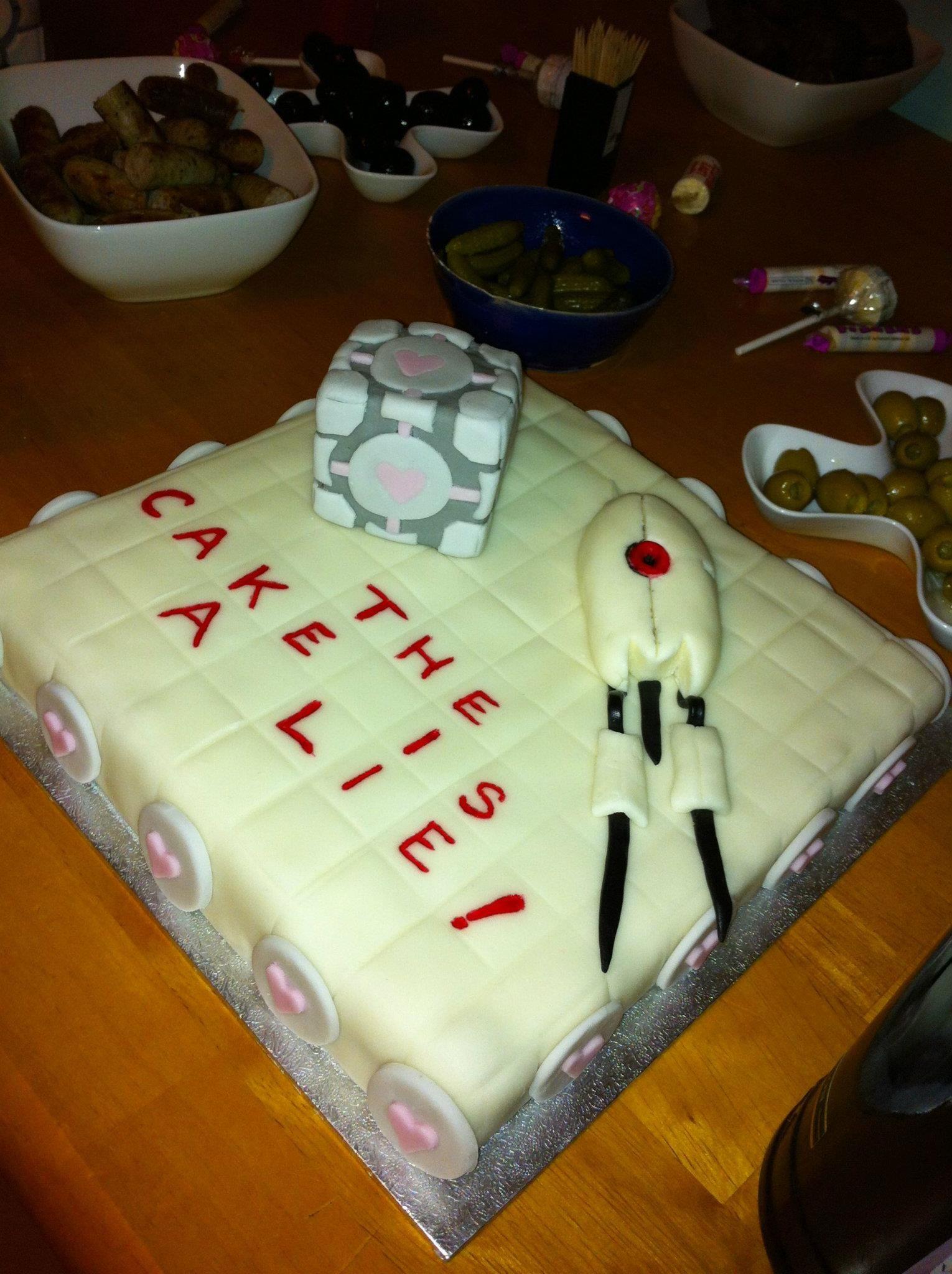 Portal Cake, with Companion Cube & Turret | birthday ideas | Pinterest