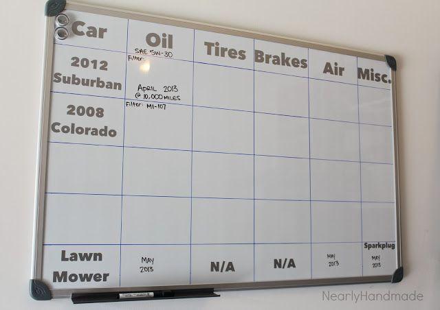 Car Maintenance Board for garage Vroom! Pinterest Cars, Board