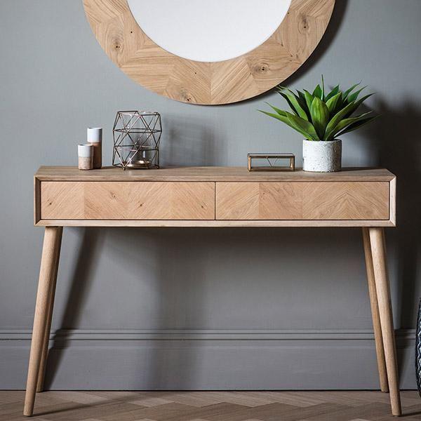 Portobello Oak Console Table With Drawers Avec Images Idee Deco Entree Maison Idees De Couloir Deco Entree Maison