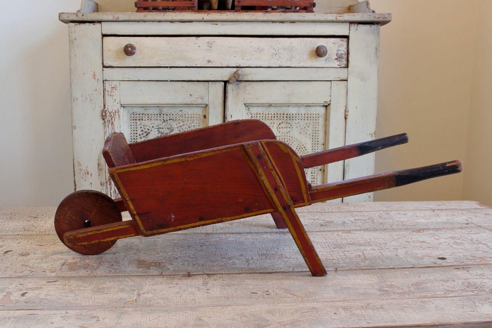 Antique Primitive Painted Child S Miniature Dresser: Early Antique Folk Art Pull Toy Primitive Wheelbarrow Wood
