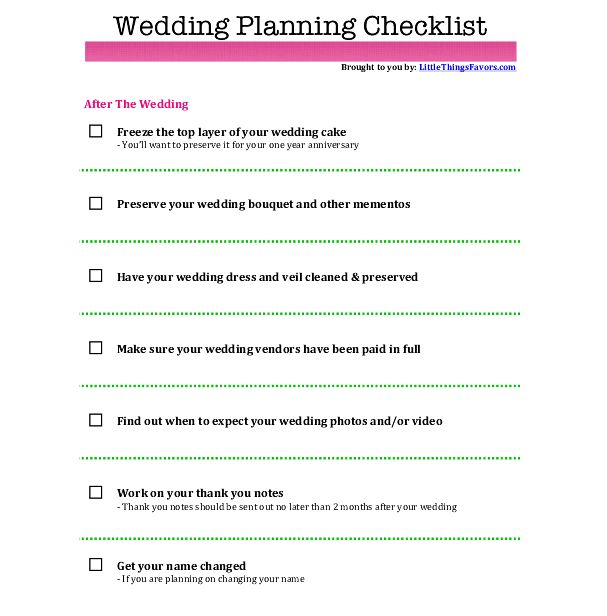 free printable wedding planning checklist for after the wedding