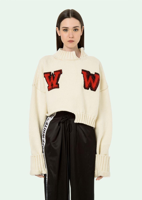 Off White Knitwear Offwhite White Knitwear Knit Sweatshirt Clothes [ 1413 x 1000 Pixel ]