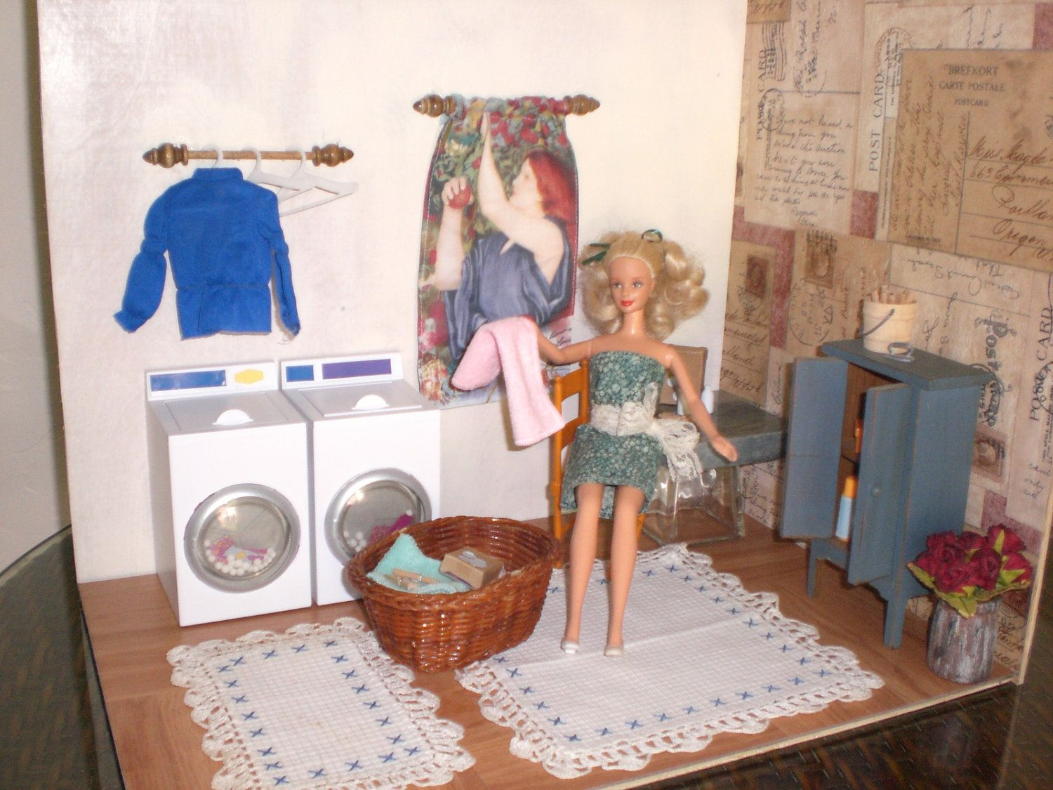 homemade barbie furniture barbie doll house laundry room complete room washing machine dryer barbie doll house furniture sets